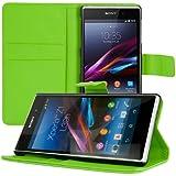 kwmobile Hülle für Sony Xperia Z1 - Wallet Case Handy Schutzhülle Kunstleder - Handycover Klapphülle mit Kartenfach und Ständer Grün