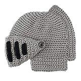 Zimuuy Unisex Mode Winter Warme Beanie Mütze Mask Hat Römischen Gladiator Ritter Manuelle Strick Hut (Grau)
