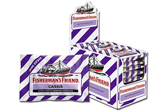 Fishermans Friend Pastillen (Fisherman's Friend Cassis | Karton mit 24 Beuteln | Schwarze Johannisbeere und Menthol Geschmack | Zuckerfrei für frischen Atem)