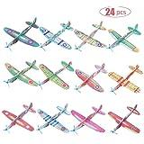 FORMIZON 24 Pack Avion Polystyrène Planeurs en 12 Motifs Différents Modèle Avion Mousse Main Lancer Planeur pour Les Pochettes-Surprise, Récompense à l'École, Jouets Avions Styrol pour Pinata