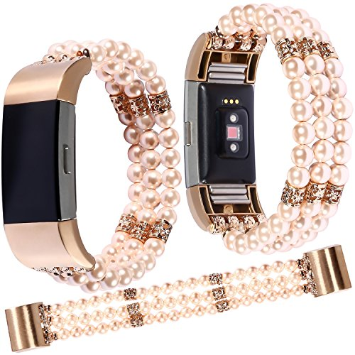 Qianyou Fitbit Charge2 Armband Perlen,Damen Mädchen Armbänder für Fitbit Charge2 Crystal Pearl Elastic Stretch Ersatzarmband Armband Uhrenarmband für Fitbit Charge 2 / Fitbit Charge hr,Rosa-3 Reihen