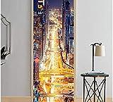 Adesivo per porte 3D occupato semaforo città trafficata PVC impermeabile autoadesivo autoadesivo rimovibile design decorazione della casa