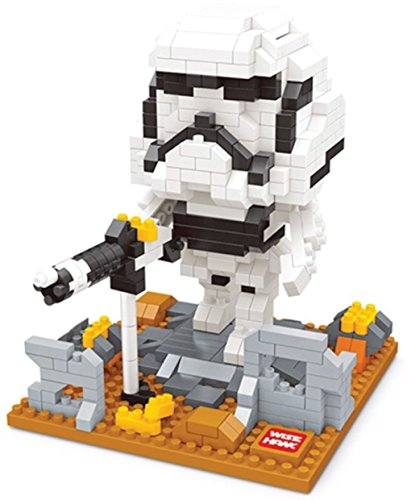 Storm Trooper figure from Star Wars. Miniblocks assembly kit. 522 miniature blocks.