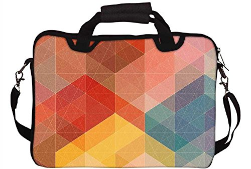 "Snoogg Geometic Formations Colourful 12"" 12.5"" 12.6"" Inch Laptop Notebook SlipCase With Shoulder Strap Handle Sleeve Soft Case With Shoulder Strap Handle Carrying Case With Shoulder Strap Handle For Macbook Pro Acer Asus Dell Hp Sony Toshib"