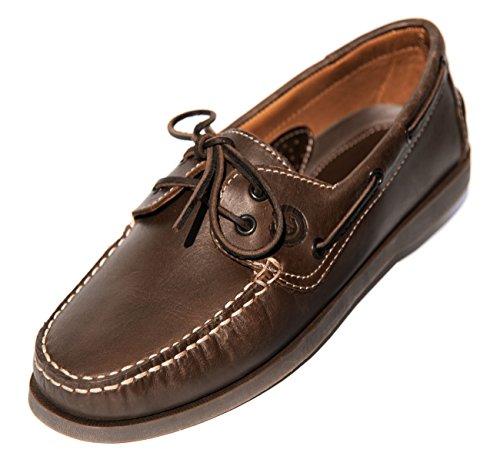 MADSea Herren Leder Bootsschuhe All Summer Deckschuhe Dunkelbraun, Farbe:braun, Größe:42 EU -