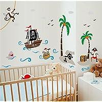 Ufengke Cartoon Piraten Schiff Affepirat Kokos Insel Wandsticker, Kinderzimmer Babyzimmer Entfernbare Wandtattoos
