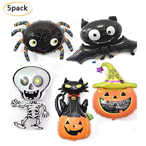 Halloween-Luftballon Kürbis Spider Ghost Skelett Aluminiumfolie Luftballons aufblasbares Spielzeug Featival Party Supplies 5 Stück