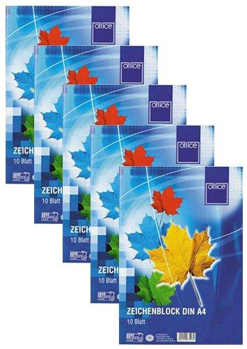 Preisvergleich Produktbild Sparpaket: 5 Office Zeichenblöcke DIN A4 10 Blatt weiß holzfrei