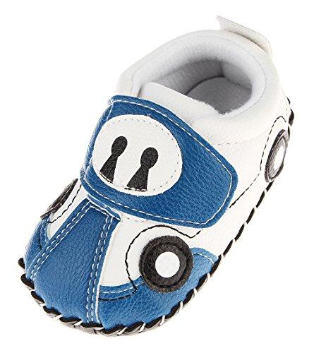 Cloud Kids Chaussures Premiers Pas Bébé Garçon Chausson Bébé Chaussure Bébé en Cuir PU Souple (12-18 Mois, Bleu Claire)