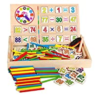 Montessori Toys Baby Puzzle Wooden Math Educational Toys Number Counting Sticks Toys Children Mathematics Teaching Wood Box (Random Color)