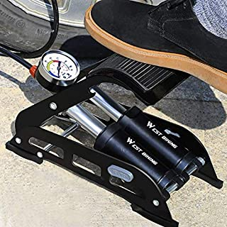 QZY Fußpumpe Hochdruck-Inflator, Bike-Boden Pumpe Motorrad Auto-Fuß Tragbare Reifen Pumpe 200Psi Schwarz-Blau,Black