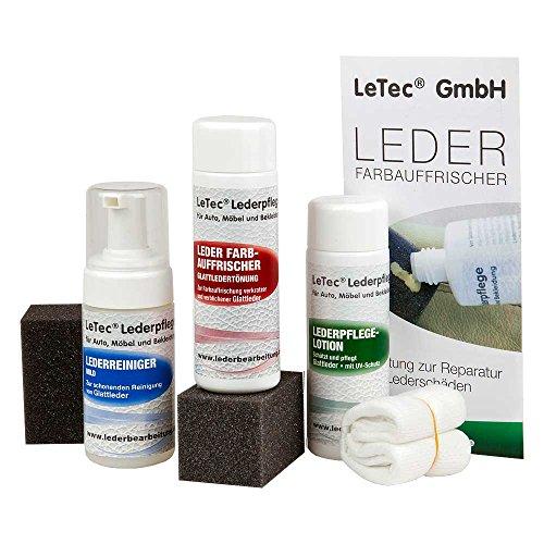 LeTec® Leder Nachtönungs- und Pflegeset RAL 8012 Rotbraun mit Leder Farbauffrischer (Lederfarbe) 150 ml, Lederpflegelotion (Lederschutz) 150 ml und Lederreiniger für Auto, Möbel, Sofa, Couch