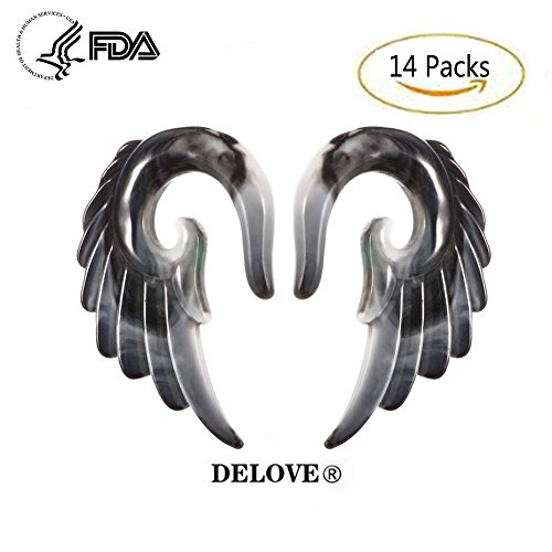 DELOVE 14PCS Acryl Angel Wings Grey Marmor Ohrstöpsel 3MM-12MM + Mischfarben Acryl Spiral Taper Plug Gauge Stretching Kit-Vintage Angel Wings,Gray (4 Gauge Verjüngt)