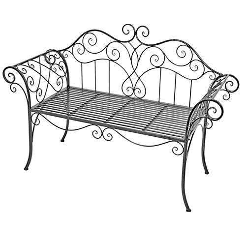 Edle Gartenbank Sitzbank aus Eisen Antik Design Sitzbank im Landhausstil Farbe Grau