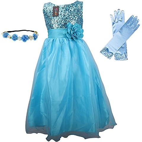 Hochzeit Kleid für Kinder Mädchen mit Handschuhen und Haarband - Tyidalin Festlich Pailleten Tüll Abendkleid Party Prinzessin Kleider Blumenmädchen, Blau,