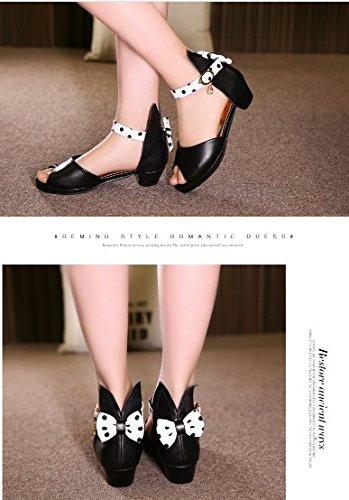 OPSUN Sandales à bride Enfants Filles Chaussure Cérémonie Ballerines à bout ouvert Mariage Escarpin plat Babies Noir