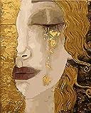 yhwygg Peinture À l'huile Numérique Kits De Bricolage À Colorier Larmes Femme Aux Cheveux Jaunes Peintures par Numéros avec des Kits