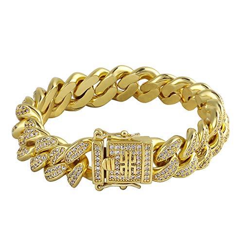 n Link Armband 14K Gold plattiert Iced Out Cuban Chain Panzerkette kubanische Gliederarmband mit 5A CZ-Steinen in Krappenfassung Hip-Hop Schmuck für Männer Jungen Größe 20, 23 cm ()