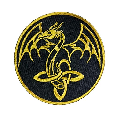 Titan One Europe Celtic Golden Dragon Vikings Decorative Jacket Patch Dragón Dorado Celta Vikingos Parche Decorativo Bordado Termo-Adhesivo