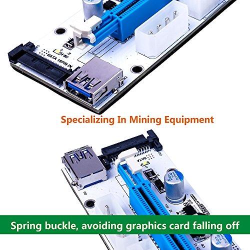 wonoovi PCIe Riser Adapter ver-008S PCI-E 16X to 1X 60cm USB 3.0Verlängerung Kabel & 4pol 6pinb zu SATA Power Kabel–ethereum Bergbau ETH - 3