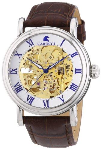 Carucci Watches CA2203GD - Orologio da polso uomo, pelle, colore: marrone