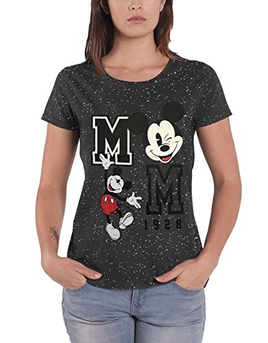 Mickey Mouse T Shirt Disney 1928 Winking Leap Official Womens Grey Skinny Fit