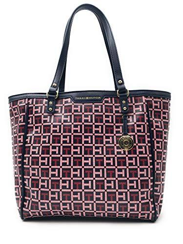 Signature Damen Leder Tasche (Tommy Hilfiger Tasche ROT-WEISS Shoppertasche, TH Signature 35x22x8cm, 2513)