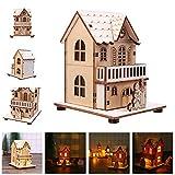 Beleuchtetes Weihnachtshaus,Colorful Dekoratives Holzhaus mit LED-Beleuchtung,naturbelassenes Holz Weihnachtsdeko-Weihnachtshütte LED Licht Weihnachts Chalet (C)