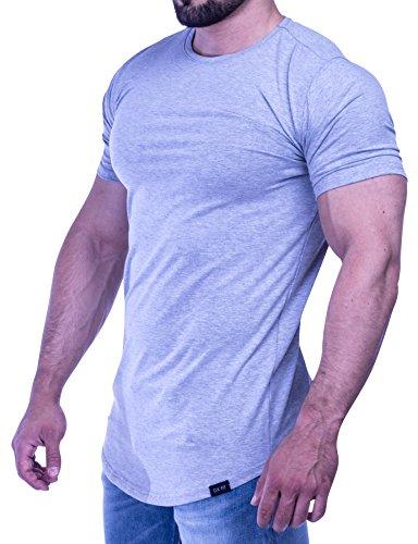 D.K Fit Premium Herren Oversize T-Shirt - Muscle Fit - Perfekt für deinen trainierten Körper (Medium, Grey) (T-shirt Dunkle Grünen Armee)