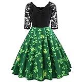 IZHH St Patrick's Day Ladies Dresses GrüNes Damen Half Sleeve GrüNes Klee-Retro Kleid Lace Patchwork Print Flare Dress Fashion St. Patrick TageskostüM Dress(Grün-1,X-Large)