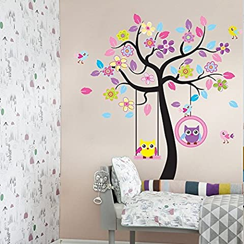 Adesivo da parete grande Zoo, per cameretta bambini, con alberi, graziosi animali e fiori colorati, fai da te 2 - Abc Zoo
