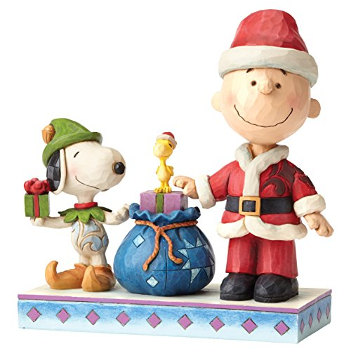 Enesco Peanuts Snoopy By Jim Shore Snoopy Charlie Brown Natale, Pvc, Multicolore, 12x14x15 cm