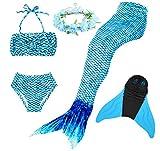 Superstar88 Mädchen Cosplay Kostüm Badebekleidung Meerjungfrau Shell Badeanzug 3pcs Bikini Sets mit Einer Flosse und Einer Kränze Tolle Geschenksidee ! (140, Arctic Blue)