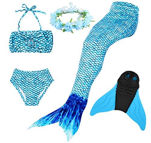 Superstar88 Mädchen Cosplay Kostüm Badebekleidung Meerjungfrau Shell Badeanzug 3pcs Bikini Sets mit Einer Flosse und Einer Kränze Tolle Geschenksidee ! (150, Arctic ()
