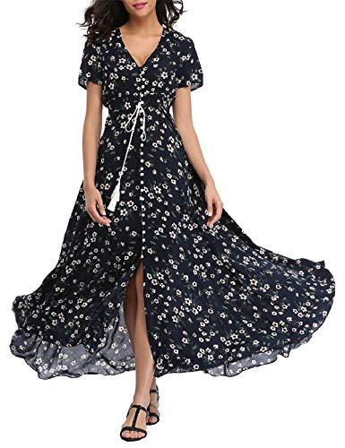 qinDeevyPool Women Boho Maxi Dresses Floral Printed Button up Split Short Sleeve Beach Party Long Dress -