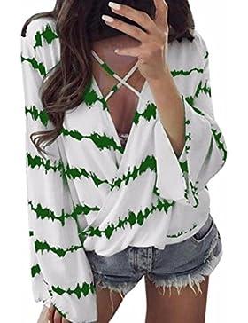 JIAJIA YL Mujer Blusa Camisa - Manga Larga - Rayas - Cruz de Banda - Gasa - Elegante y Moda