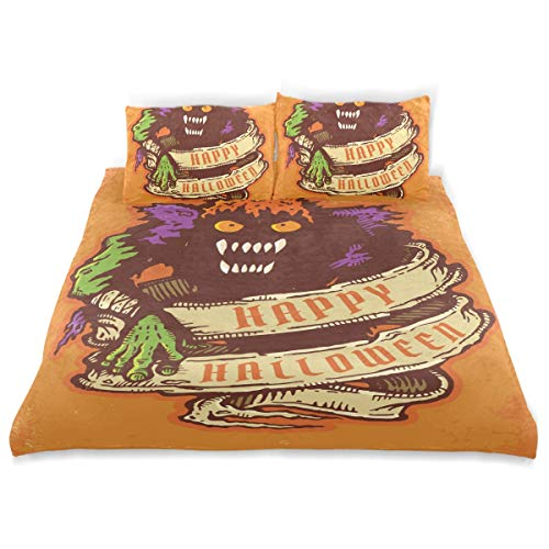 SUNOP Bettwaren & Bettwäsche, Bettlaken & Kissenbezüge, Spannbetttücher für Doppelbett, 100% gebürstete Baumwolle, Biber, Bettbezug und 2 Kissenbezüge, Monster- und Altes Band für Halloween