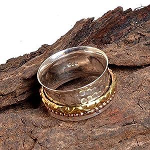 Meditationsringe, Spinnerringe, Silberringe für Frauen, Spinning Ring for Women, 925 Sterling Silver Spinner Band Rings, 925 Sterling Silver Band, Brass and Copper Spinner Ring for Women
