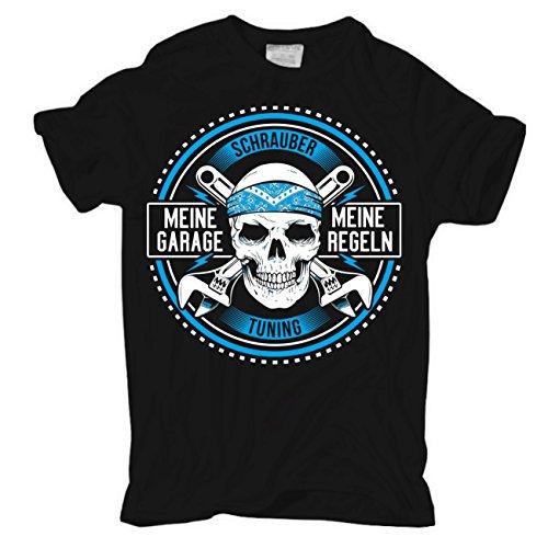 Männer und Herren T-Shirt Meine Garage Meine Regeln (mit Rückendruck) Schwarz
