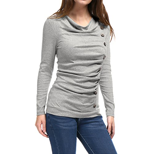 Allegra K Women's Cowl Neck Buttons Decor Long Sleeves Stretchy Ruched Top