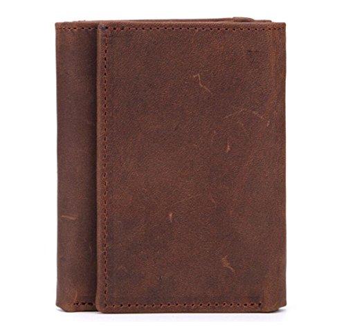 ZGJQ Herren Vintage Wallet Short Tri-Fold Leder Geldbörse Hand Snap Button Tasche Geschenkbox (Farbe : Braun) - Button Zip Wallet