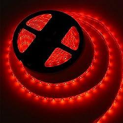 5M Bandes LED Flexibles 12V, Ruban LED,Rouge, 300 unités 5050 SMD LEDs, Imperméable IP65, décoration luminaire d'intérieur, moderne pour la fête Noël/ Sapin [Classe énergétique A+]