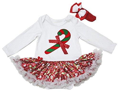 Christmas Dress Candy Stick White Cotton L/s Bodysuit Gifts Tutu Baby Set Nb-18m (12-18 (Candy Kostüm Baby Cotton)