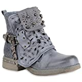 Damen Schuhe Biker Boots Strass Cut Outs Stiefeletten Leder-Optik Schuhe 157623 Blau Amares 36 Flandell