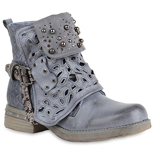 Damen Schuhe Biker Boots Strass Cut Outs Stiefeletten Leder-Optik Schuhe 157623 Blau Amares 36 Flandell - Western Cut Outs