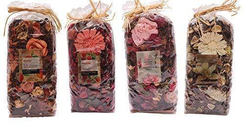 Aura Orange, Rasberry, Rose, Vanilla Home Fragrances Potpourries Pack of 4-1260gm, 315gm Each, Orange, Rasberry, Rose, Vanilla Fragrances