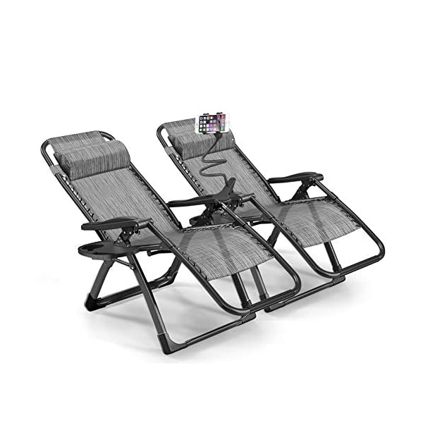 1INCHHOME Extra Large Zero Gravity Chair Set of 2 - Grey