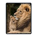 Mouse Pad Lion Father and Baby Custom Rectangle Non-Slip Rubber Mouse Mat for Computer, Laptop Stitched Edges Gaming Mouse Pad Keyboard Wrist Rests