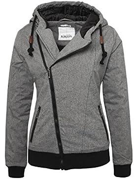 SUBLEVEL Mujer - Cazadora de invierno con capucha | Cazadora acolchada en gris o azul jaspeado