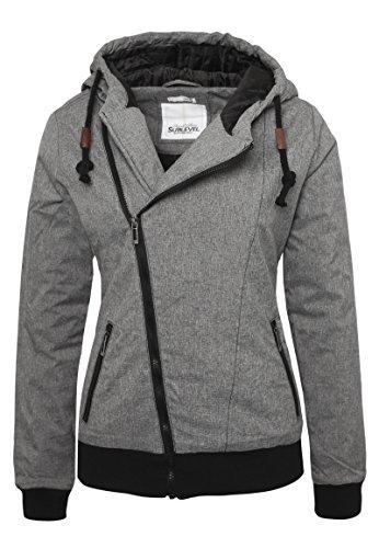 Sublevel Damen Winterjacke mit Kapuze im Melange Look Dark-Grey S